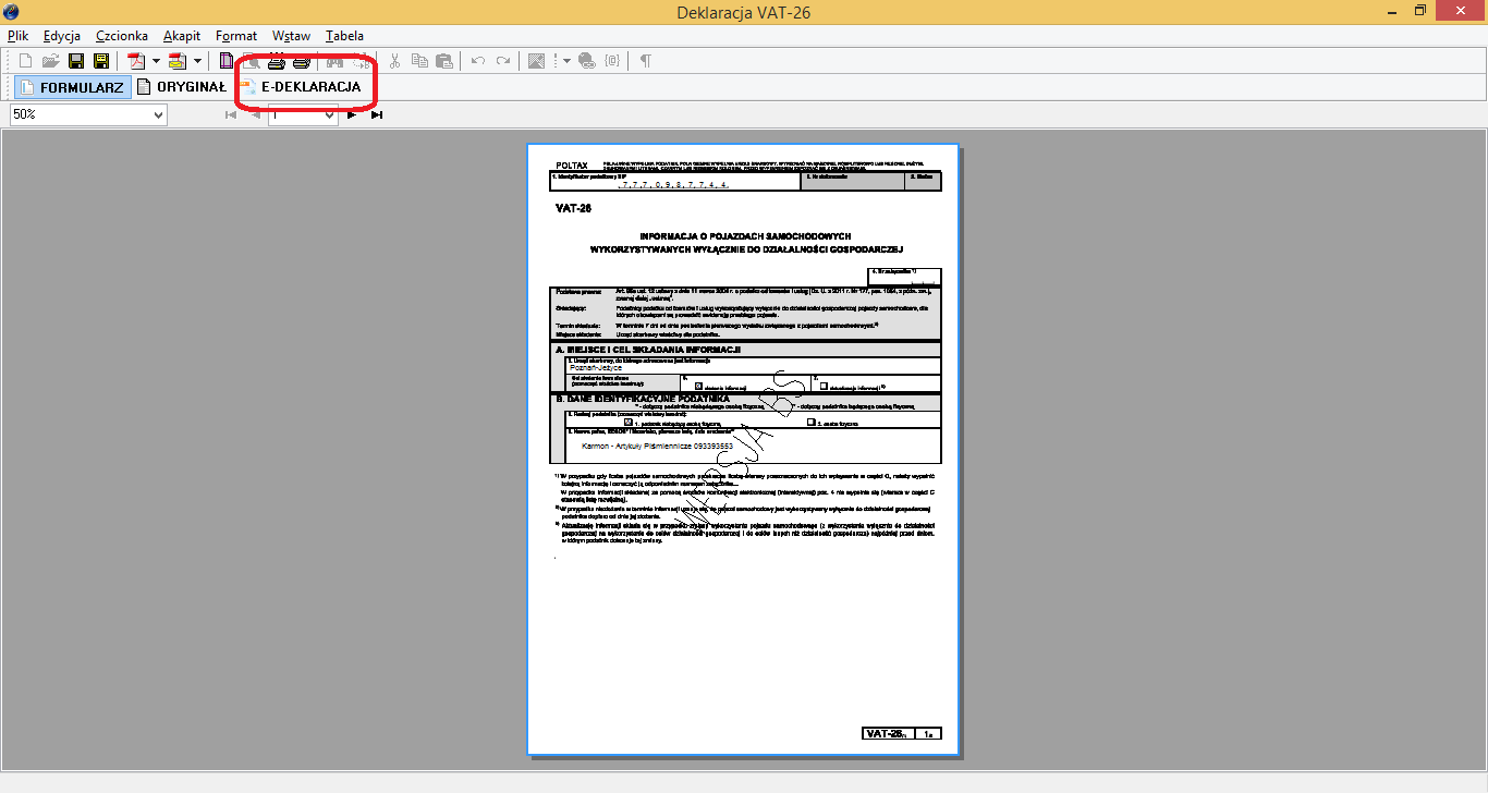 Jak wystawić deklarację VAT-26 w programie KPiR